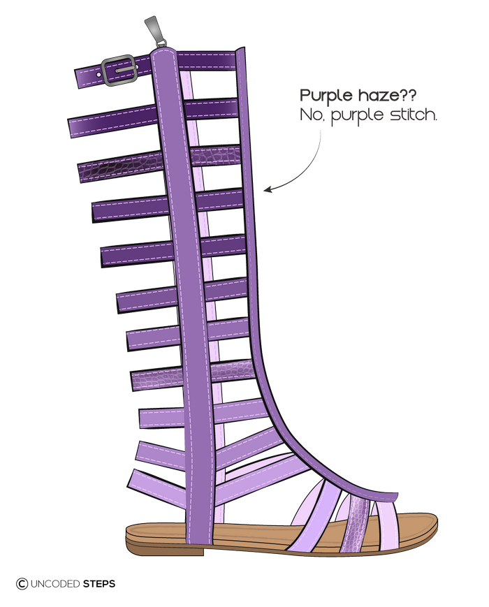 Uncoded-Steps Purple-gladiator footwear